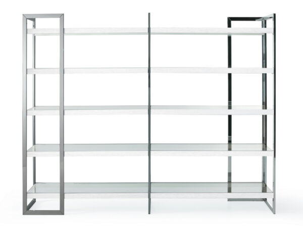 libreria in acciaio e vetro