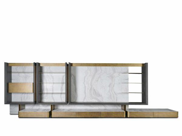 parete attrezzata ottone e marmo