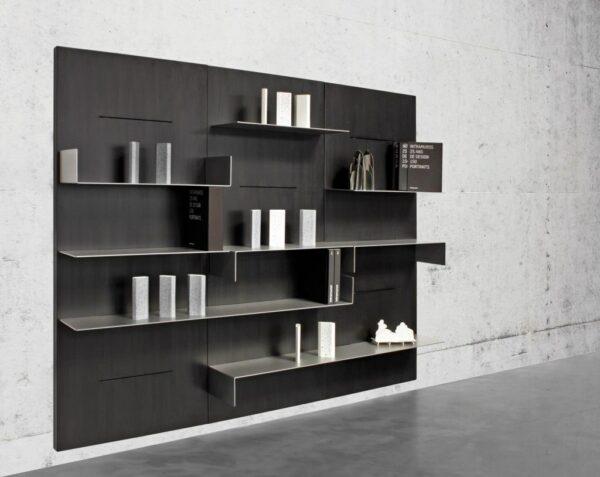 parete attrezzata in legno e acciaio