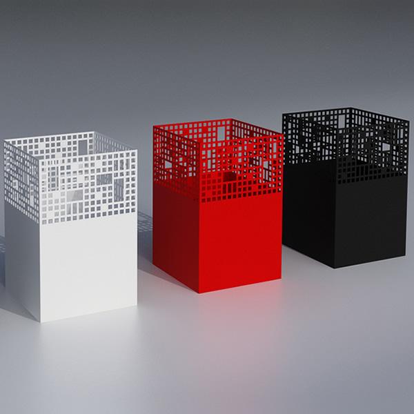 cestino in metallo colorato